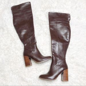 Forever 21 5.5 knee high brown boots heel
